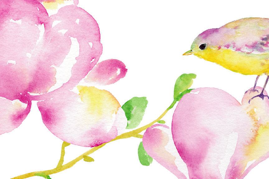 wedding flower pink magnolia, and cute birds, watercolor illustration, corner croft