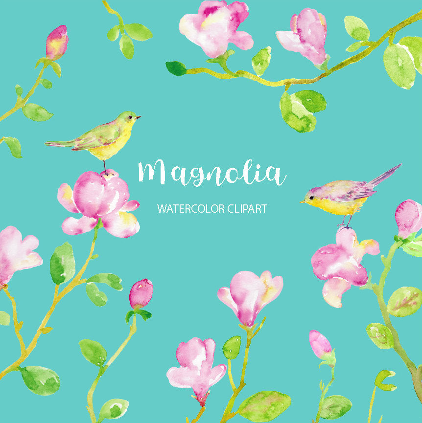 watercolor magnolia clipart, pink magnolia, ping and green birds, wedding flower, instant download