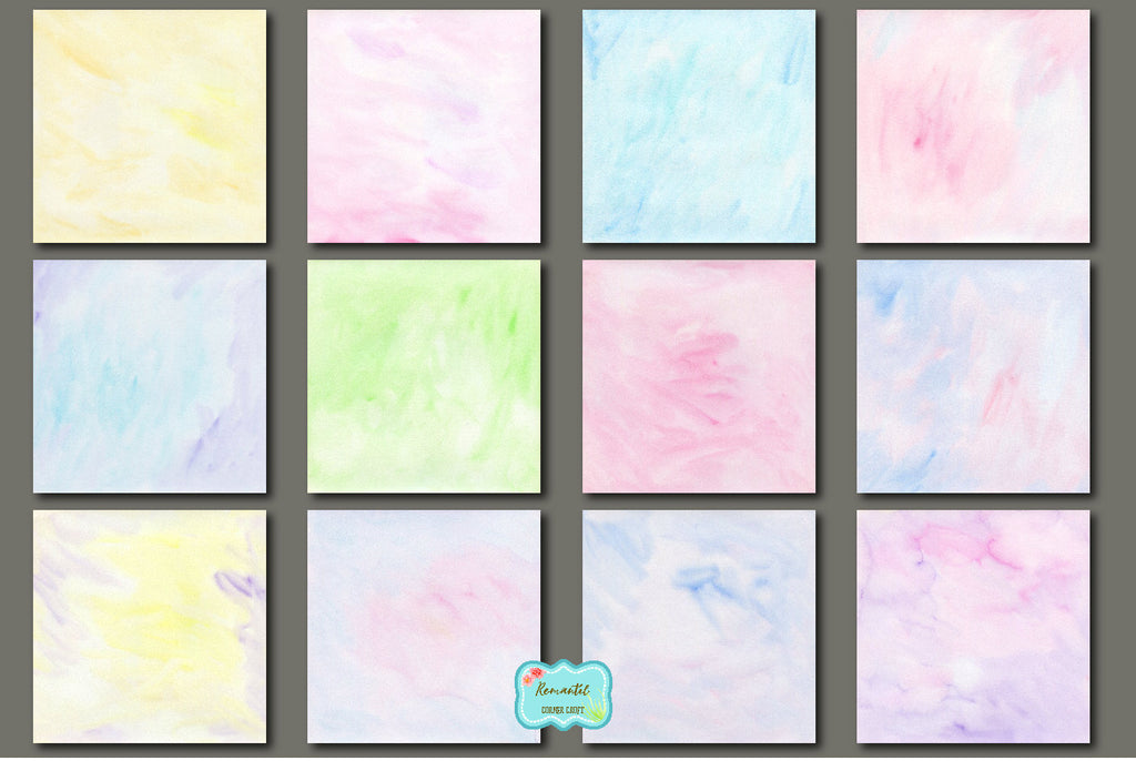 watercolor texture, watercolor digital paper romantic, pastel pink, blue, and yellow