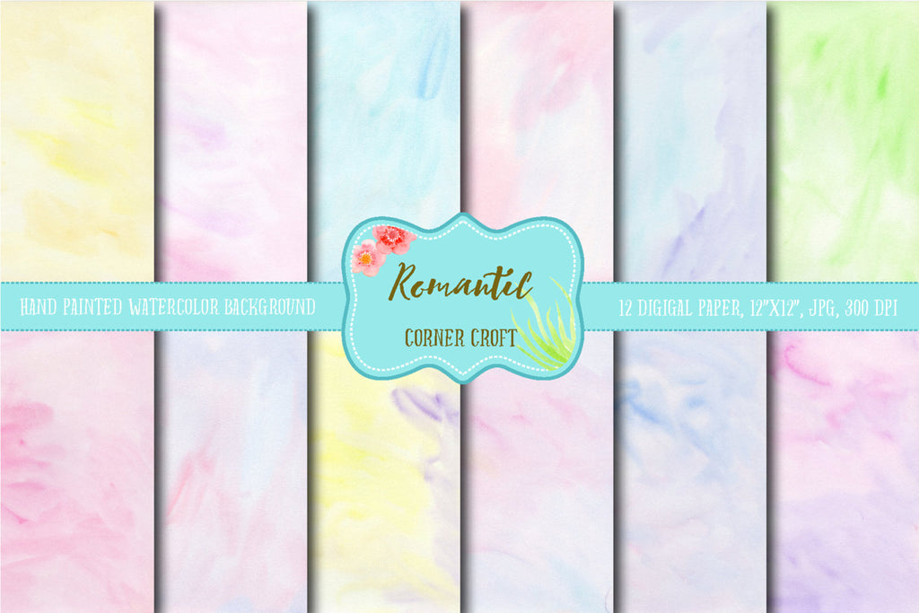 watercolor digital paper romantic, pastel pink, blue, and yellow