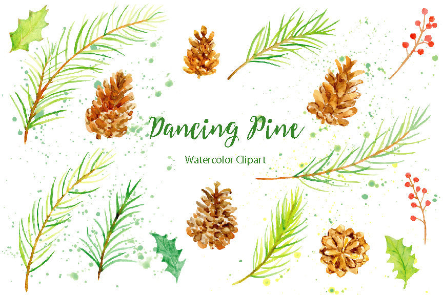 watercolor clipart dancing pine, Christmas clipart