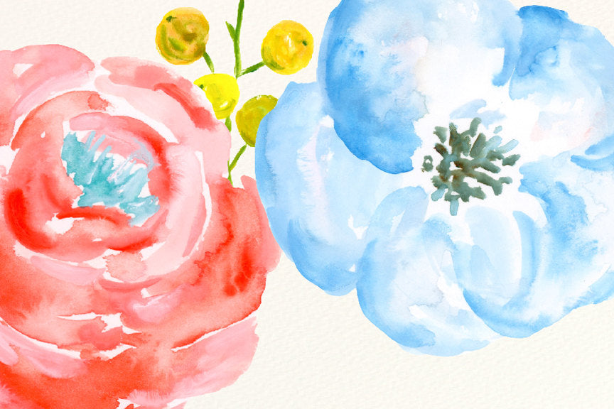 waterclor clipart spring fresh, watercolour spring flowers, corner croft artwork