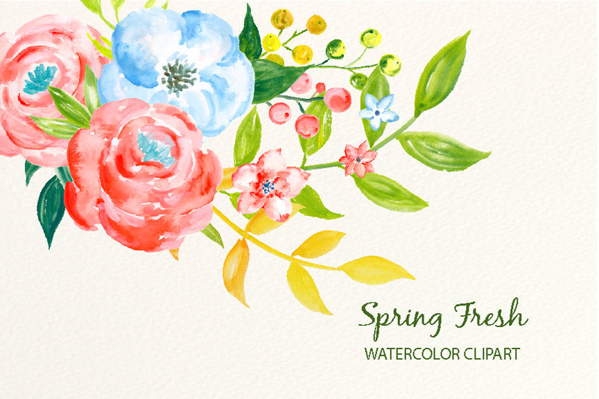 watercolor clipart spring fresh, pink rose, blue flower, blue rose, instant download