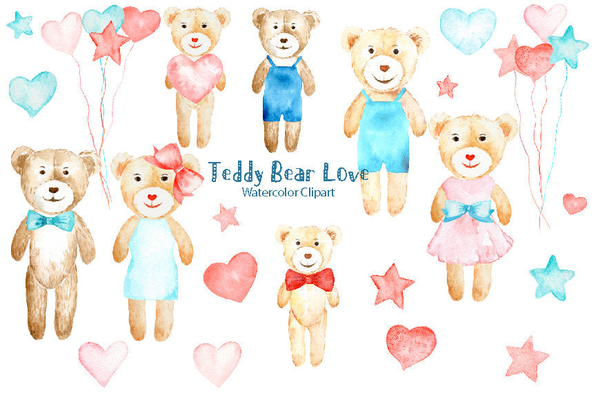 watercolor teddy bear clipart, valentine clipart