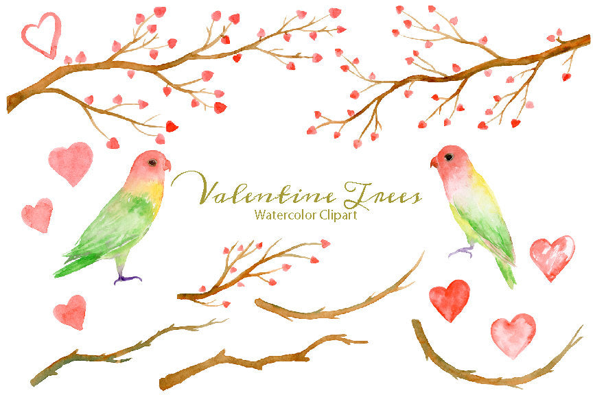 Watercolor Clipart Valentine Trees, tree branch with red hearts, love birds, love wreath, instant download, valentine clipart