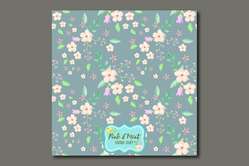 Digital paper, pink and mint, floral pattern, seamless pattern, watercolor pattern, watercolour pattern, repeat pattern