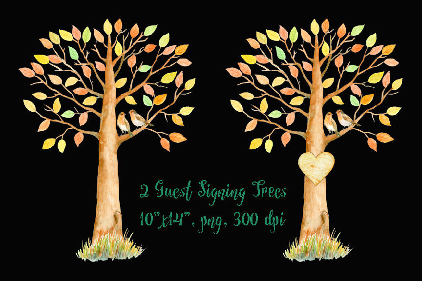 watercolor guest signing tree, fall tree, autumn color, tree illustration