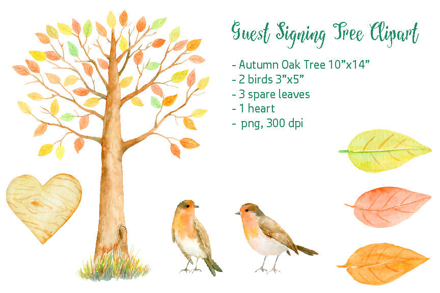 watercolor autumn oak tree, guest signing tree, birds, robin