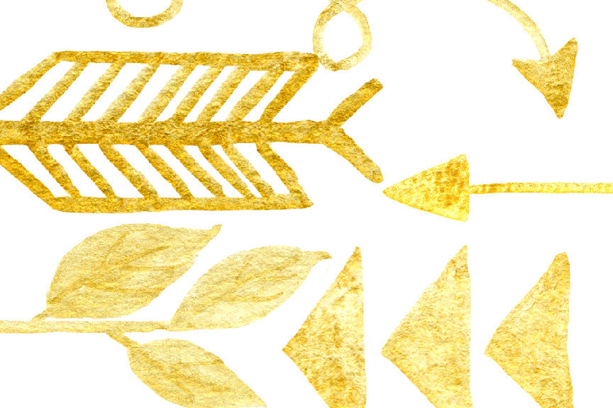 Hand drawn gold arrows, arrows clipart, arrow doodle for instant download