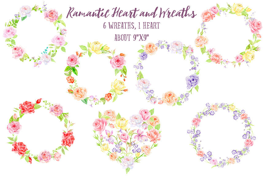 watercolor heart, watercolor wreath, rose wreath, romantic heart and wreaths for instant download