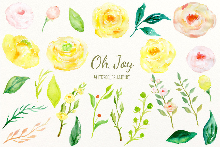 watercolour elements, yellow flower, yellow, pink, spring flower.