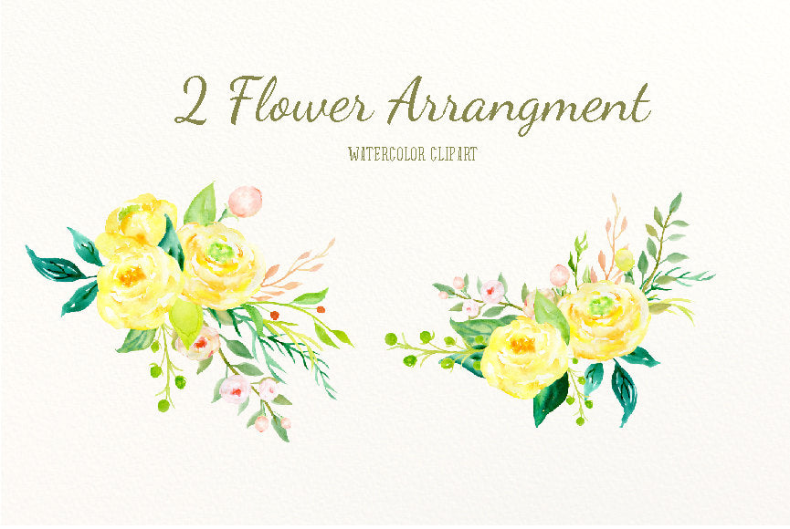 watercolor clipart oh joy, digital download, yellow rose, floral arrangement, digital file.