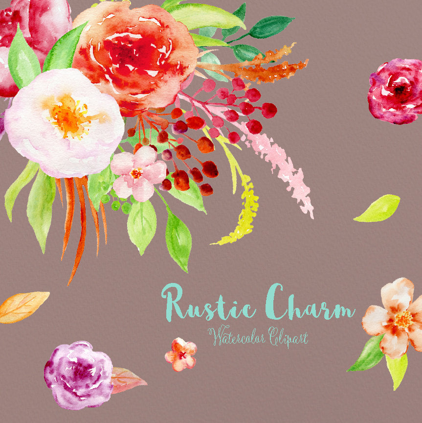watercolour clipart rustic charm, vintage flower, red, orange pink flowers