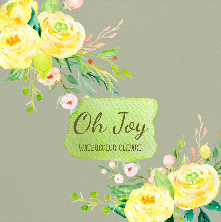watercolour clipart oh joy, yellow roses, instant download