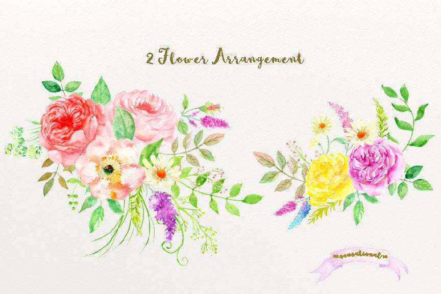 watercolour clipart sensational, rose posy, digital file, corner croft watercolour illustration