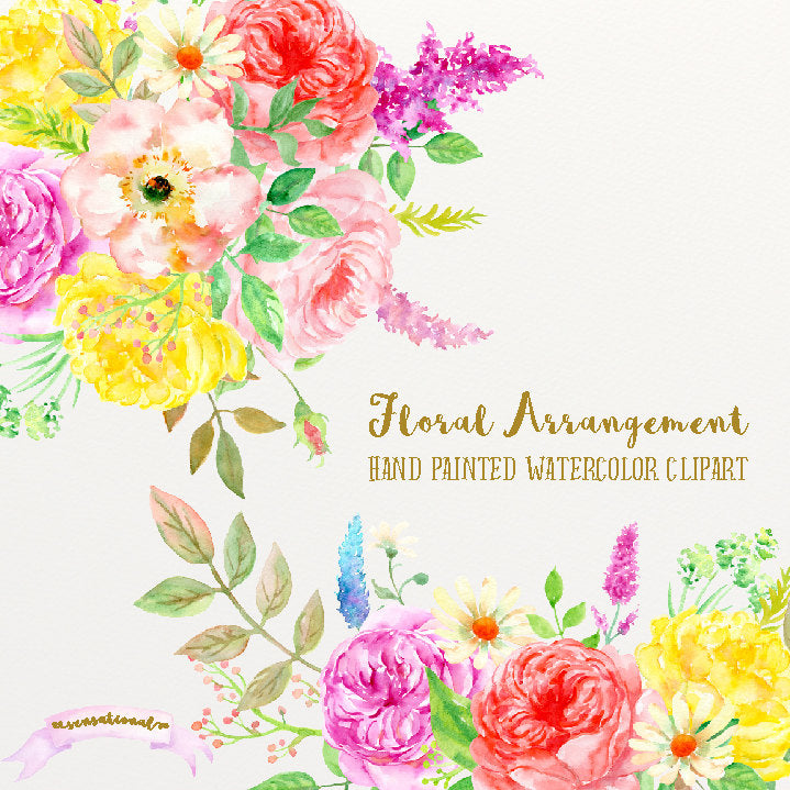 Sensational watercolor rose posy, floral composition, pink rose, yellow rose, corner croft design