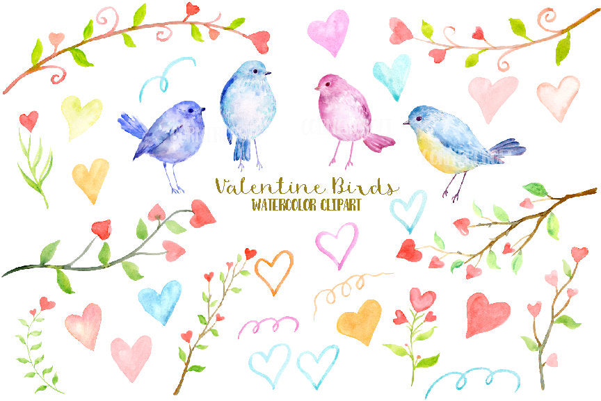 Watercolor Valentine Clipart, birds, tree branch with red hearts, blue and pink birds, heart doodles, instant download