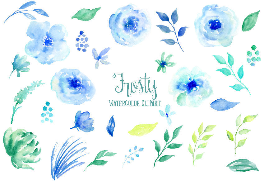 watercolour winter flower, leaf and branch, instant download, blue, mint flower, corner croft design