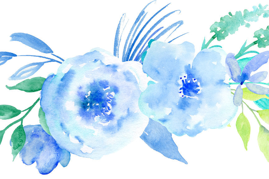watercolor clipart frosty, blue rose, mint rose, greeting cards, watercolor illustration