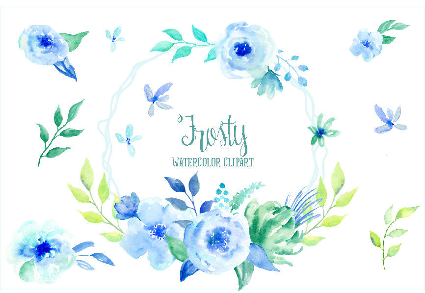 watercolour clipart frosty, blue flower, mint flower, flower composition, rose clip art