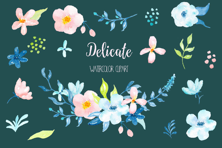 Watercolour clipart Delicate, pastel pink, peach daisy flowers, blue flower, turquoise flower, blue leaf instant download