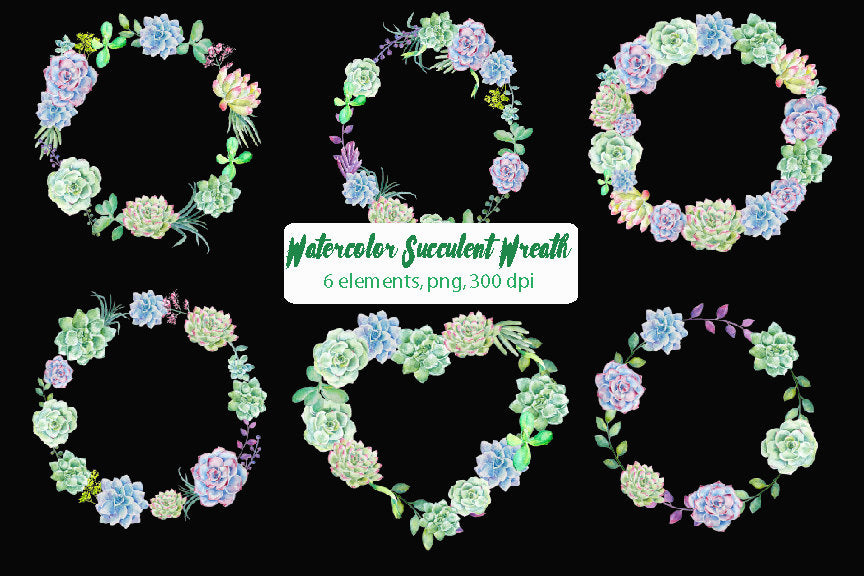 watercolor succulent plant wreath, green wreath, instant download