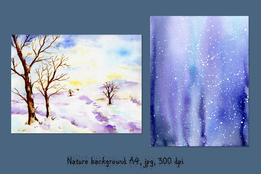 watercolor let it snow, snow forest, oak trees in snow, snow background, digital download