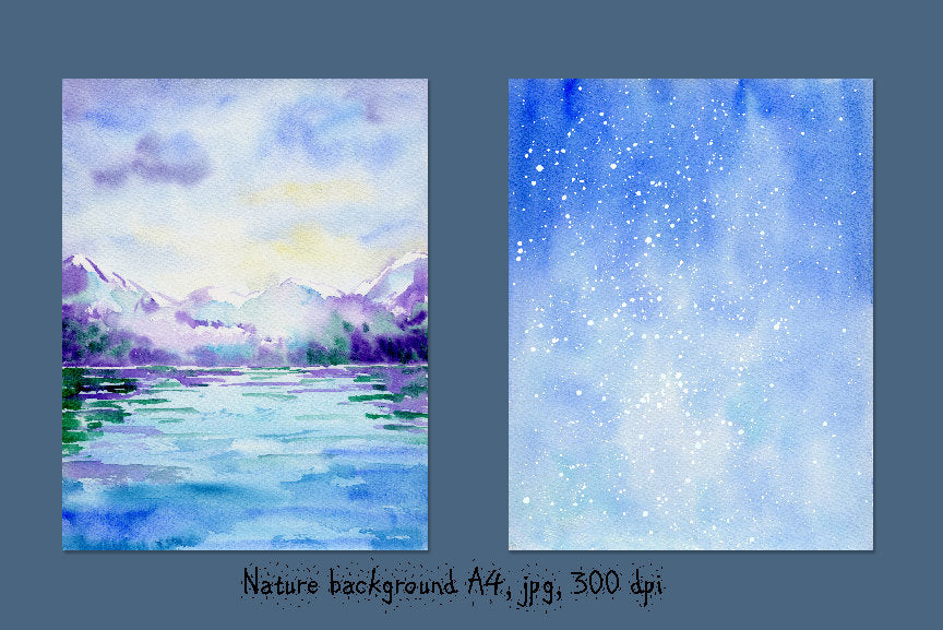 watercolor snow background, snow mountain instant download,