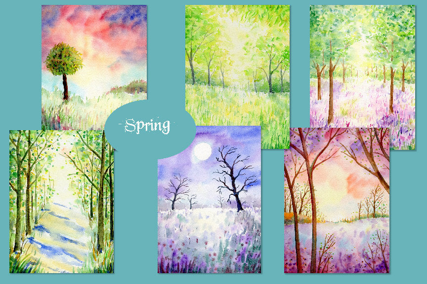 watercolor landscape paintings, spring woodland, blue bell woodland, instant download