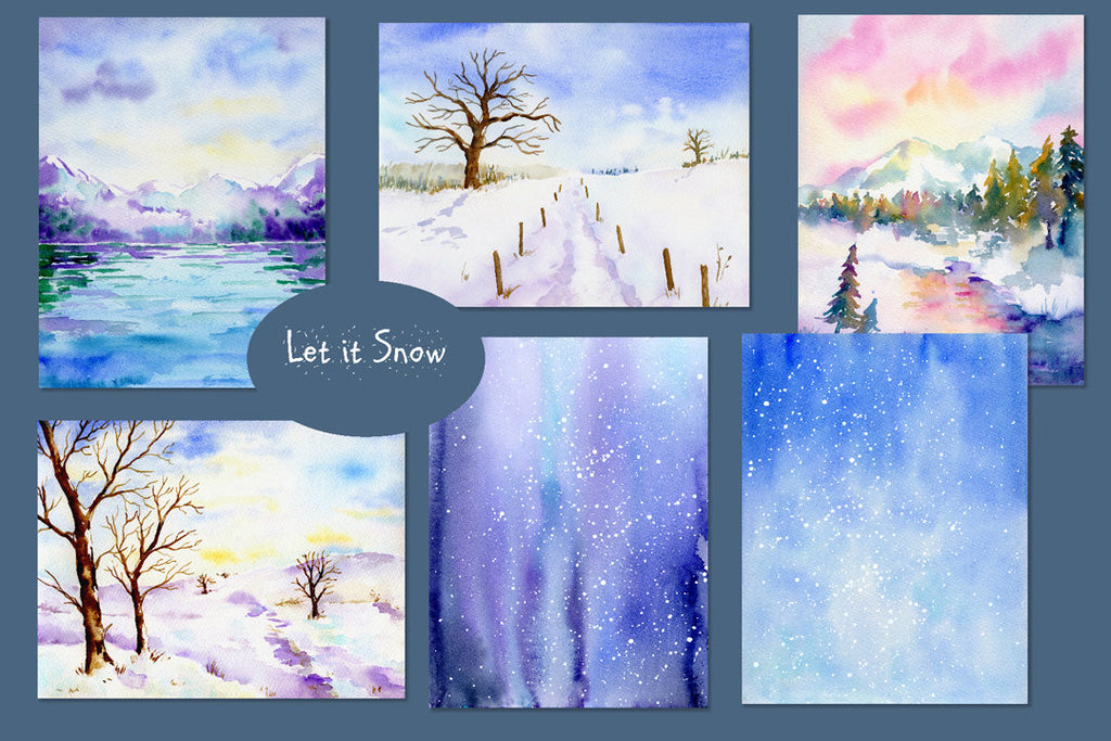 watercolor background, landscape scene, let it snow, snow mountain, stream, snow texture, snow background instant download