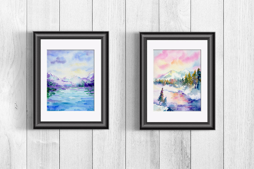 watercolor landscape background, instant download, snow mountain and stream, oak tree,