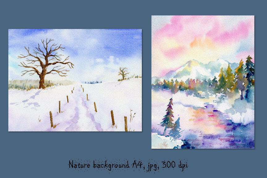 watercolor snow background, snow landscape paintings, instant download