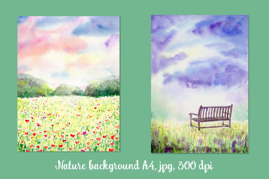 watercolor landscape painting, meadow, park bench, instant Download