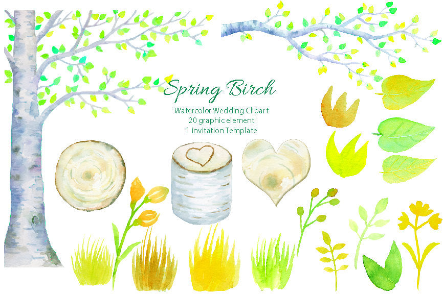 watercolor wedding clipart, wedding tree, birch tree, birch tree stump, instant download