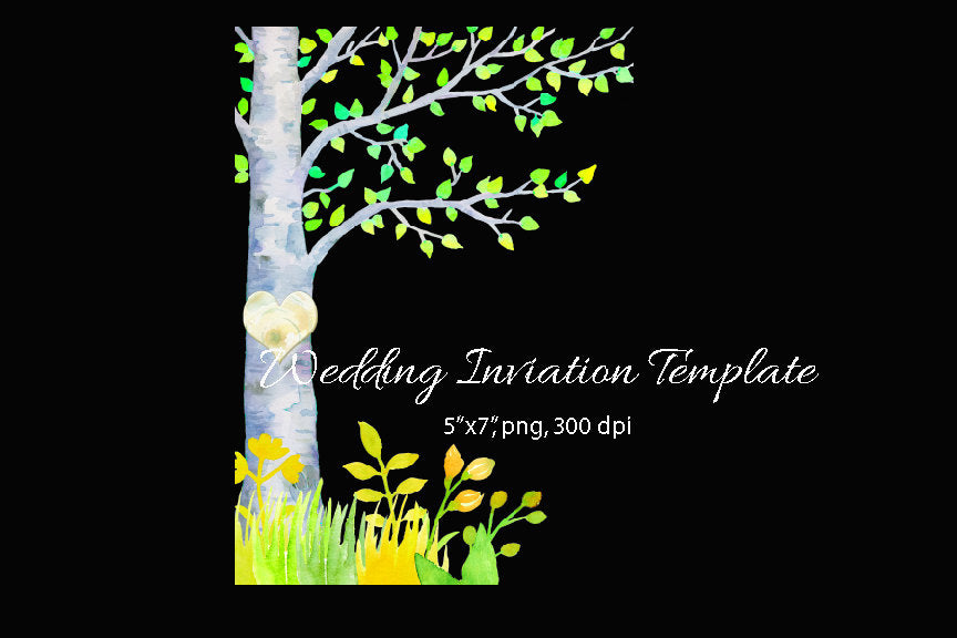 wedding invitation, spring birch illustration