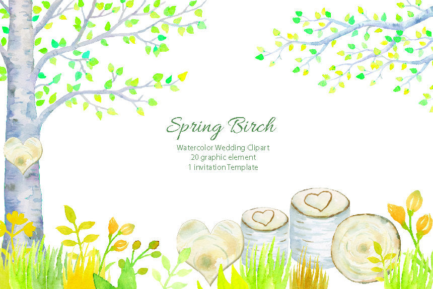 watercolor spring birch clipart, wedding clipart, birch tree, birch branch