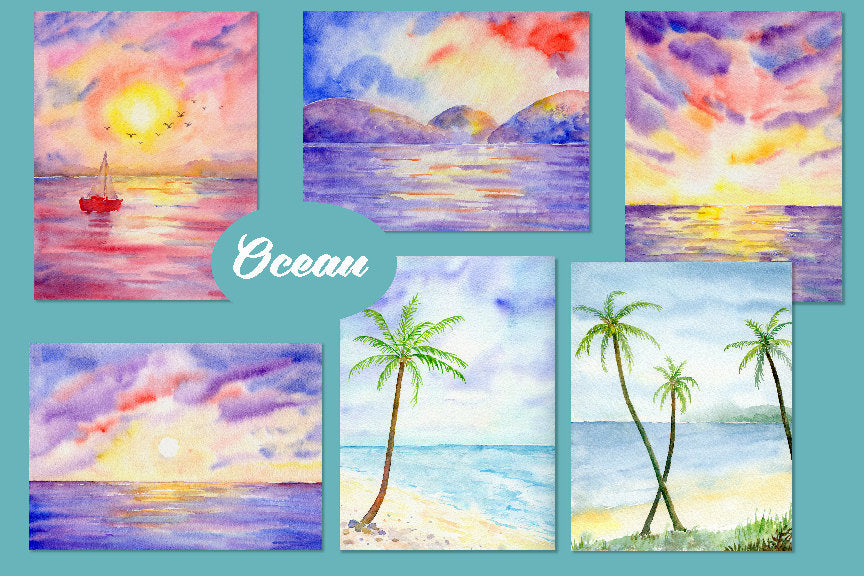 watercolor paintings of ocean, beach, palm trees, sunset at sea, instant download