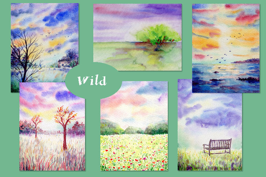 watercolor clipart, watercolor landscape background, meadow, park bench
