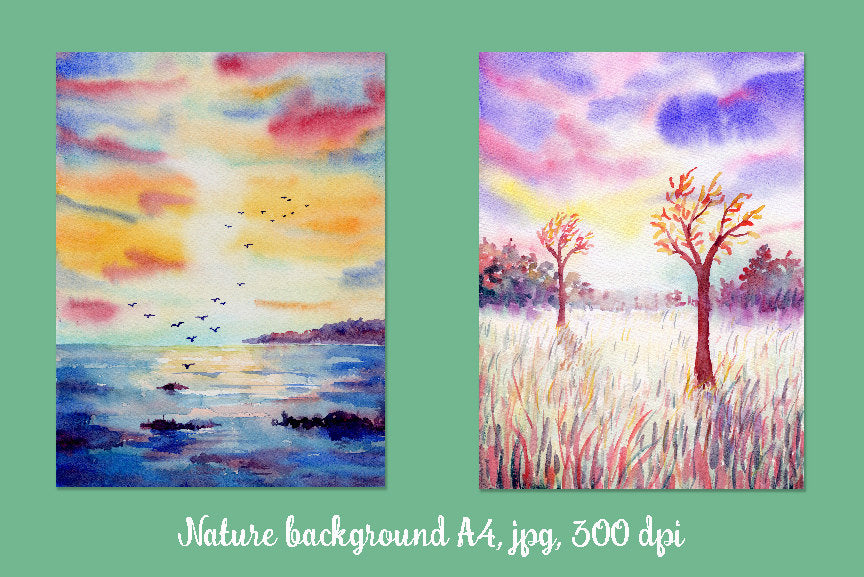 "Watercolor nature background ""Wild"", digital background for instant download, meadow, park, birds and sunset background"