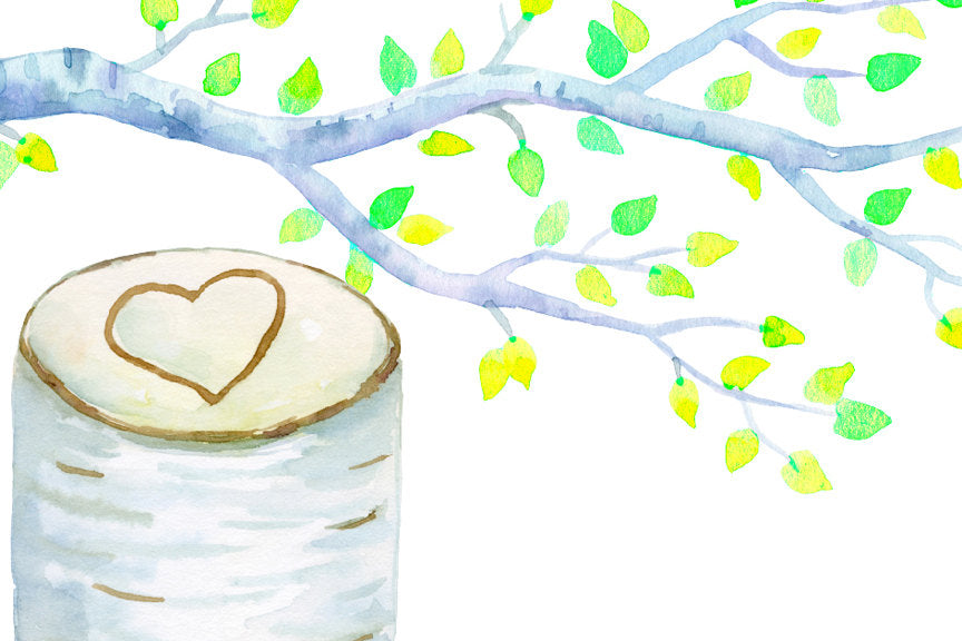 watercolor wedding tree, birch tree, tree stump, instant download, corner croft