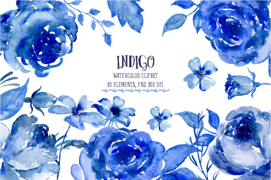 watercolour clipart indigo, dark blue flower, rose, daisy, instant download