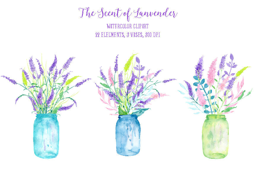 watercolor clipart, lavender scent, vase of lavender, lavender illustration