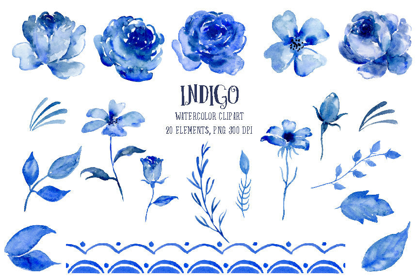 Watercolour clipart indigo, rose, daisy, floral elements, instant download, wedding invitations
