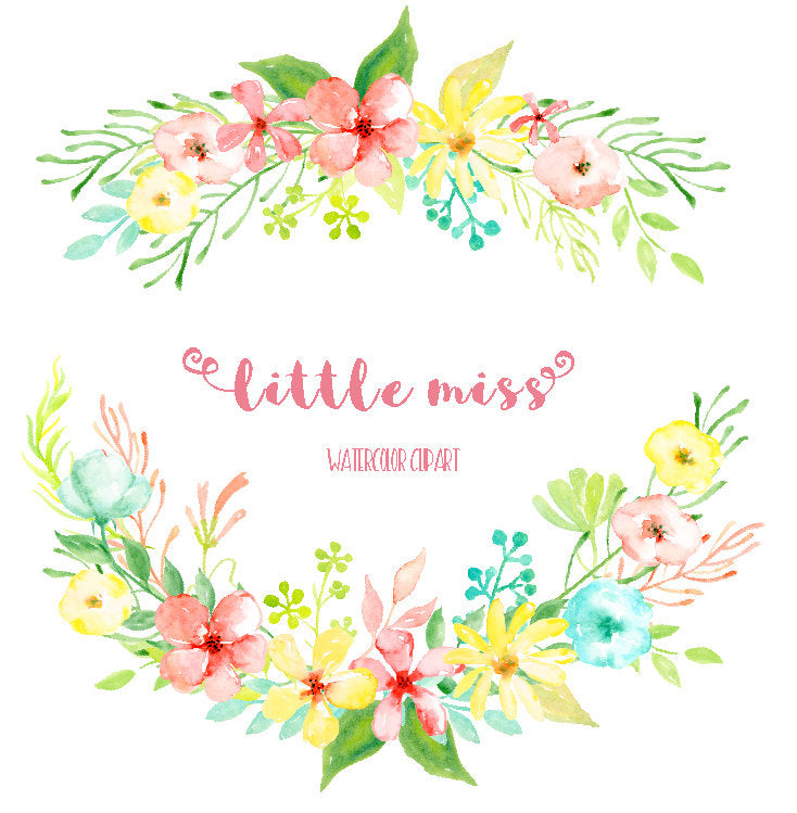 Watercolor clipart little miss, pink daisy, yellow daily flower, instant download