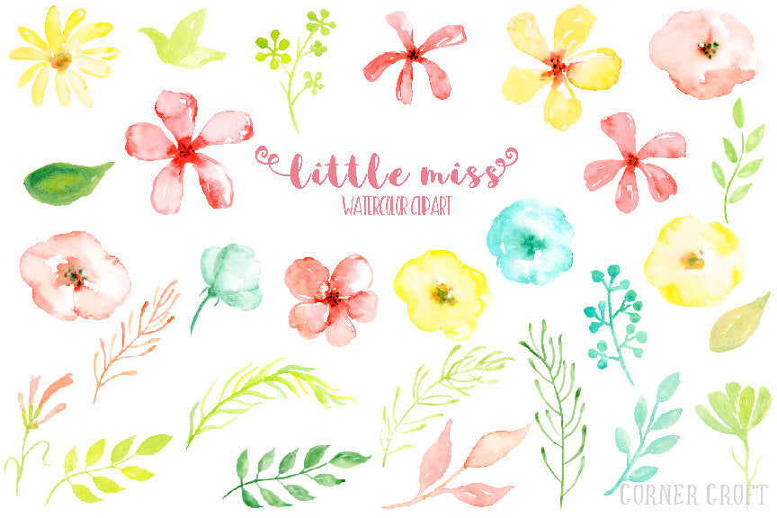 watercolor clipart little miss, pink daisy, yellow daisy, cheerful watercolor flowers for instant download