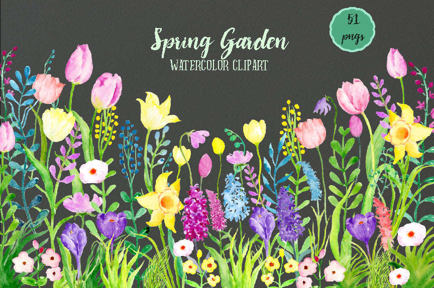 watercolor clipart spring flowers, pink and yellow flowers, tulips, daffodils,