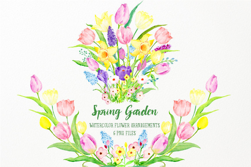 watercolour spring garden, pink and yellow tulip and daffodils, floral posy,