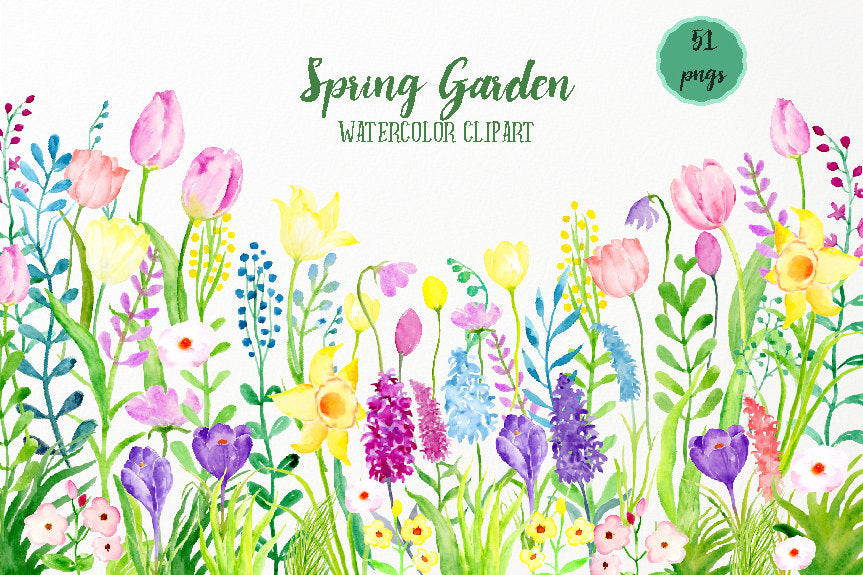 Watercolor spring border, spring bulbs, watercolour illustration