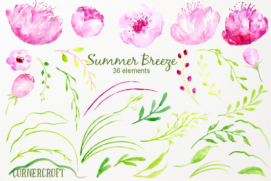 watercolor ping peony, weeping branch, grass, instant download