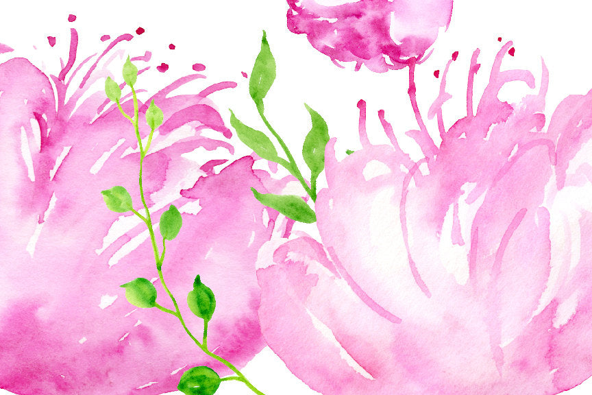 watercolour purple peony weeping flowers, instant download, corner croft design
